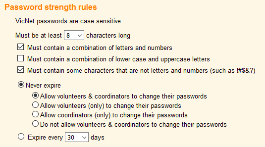 VicNet password strength rules