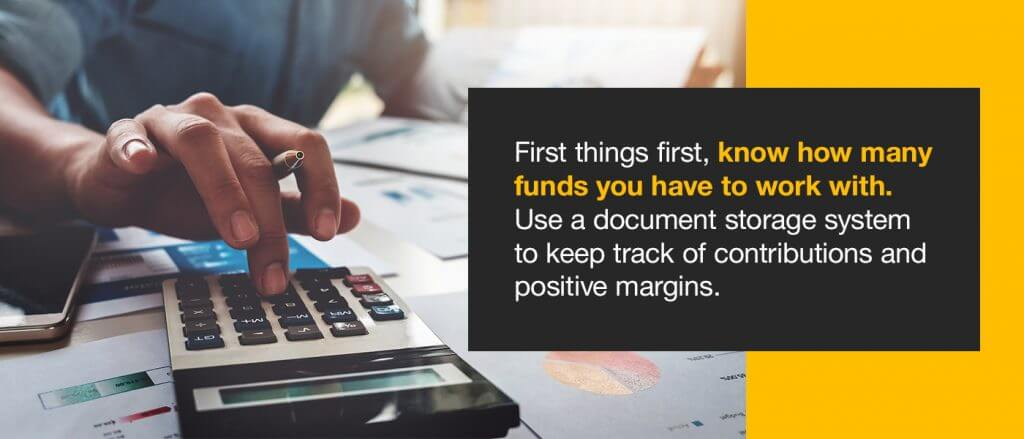 First things first, know how many funds you have to work with. You can only create a volunteer organization budget if you're familiar with your constraints. Use a document storage system to keep track of contributions and positive margins.