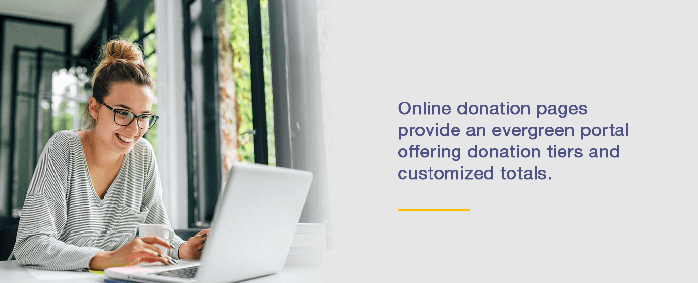 Online donation pages provide an evergreen portal offering donation tiers and customized totals.
