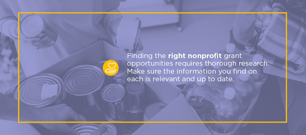Finding the right nonprofit grant opportunities requires thorough research. Make sure the information you find on each is relevant and up to date.