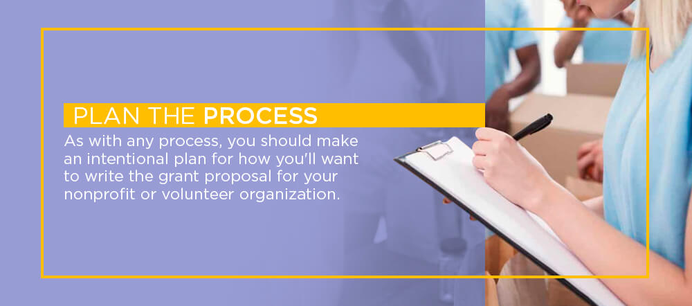 As with any process, you should make an intentional plan for how you'll want to write the grant proposal for your nonprofit or volunteer organization.