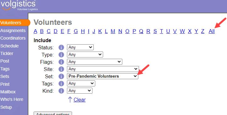 Volunteers Page
